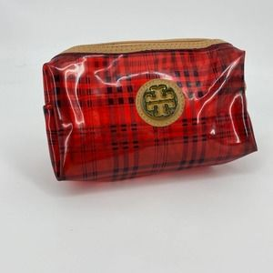Tory Burch Red Plaid Make up Pencil Bag